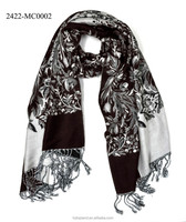 viscose acrylic black and white floral fashionable scarf