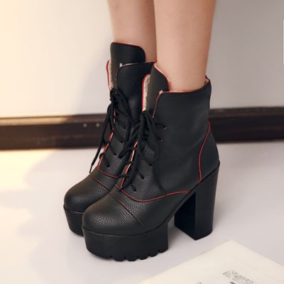 ENMAYER New 2015 Round Toe Square Heel Lace-Up Ankle Boots For Women
