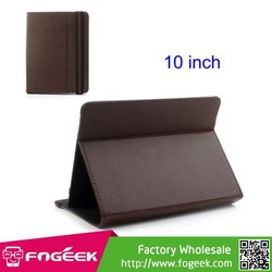 360 Degree Rotary Universal Velcro Leather Case for 10-inch Tablet PC w/ Multi-Angle Stand and Elastic Strap