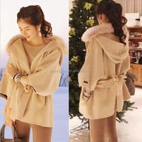 FASHION Korea style jacket women lADY Girl winter thick Fur collar wool coat