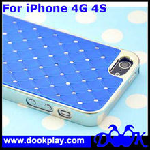 Luxury Chrome Leather Hard Cover For iPhone 4 4G 4S Bling Bling Case