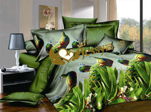 3d bed sheet/3d bed set/ flower/ animal The peacock horse