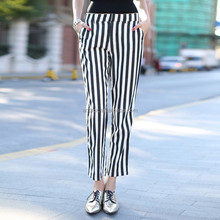 HJK-0010 Veri Gude 2015 spring new fashion women straight striped casual pants
