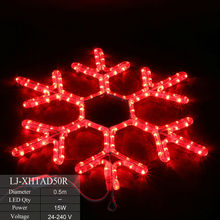 Big LED snowflake lights flashing color changing rope light christmas snowflake for wall or street decor