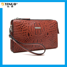 YINUO Fashion crocodile grain cow Leather Handbag for man zipper striped day clutch casual durable wallet for male