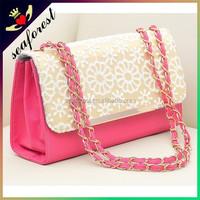 Lace ladies single shoulder bags,PU leather handbags women,hard leather elegant women bags