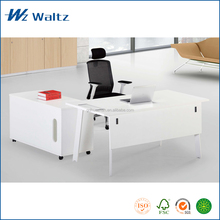 Cheap chinese furniture melamine board white color 2mm PVC MFC panel steel leg office furniture table design