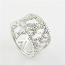 Handcraft Brand Hollowed-out Micro Paved Rhodium Plating S925 Women's Silver Rings
