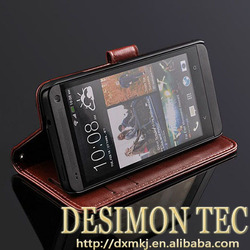 Standing wallet pu Leather case Card Holder holster For HTC one M7