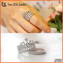 2015 Fashion Hot Jewelry Cubic Zirconia Silver Crown Ring With Two Setting