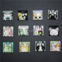 Cute cartoon cat image Square shaped pattern glass cabochon,mix pictures,flat back accessoires bijouxc bezel tray setting