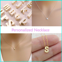 2015 fashion simple design personal initial necklace, letter necklace from China