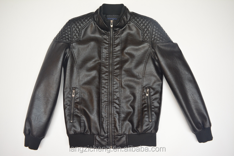 Pu087 Black Faux Quilted Shoulder Leather Jacket Men With Polish