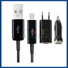3 In 1(Eu Plug Micro Usb Cable Car Charger)Travel Kit For Galaxy Htc Sony Ericsson