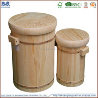 Antique wooden rice bucket ,new natural handmade round mini wooden water bucket for sale