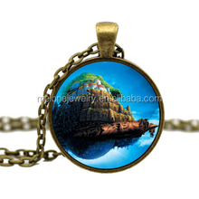 A castle in the sky Comic photo glass dome jewelry DIY Jewelry