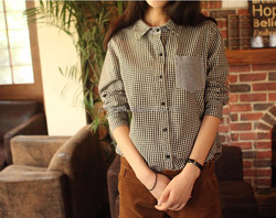 women oem casual style checked pattern brushed shirts
