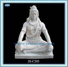unique carved white marble statue of shiva