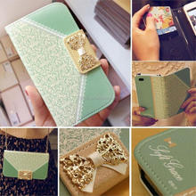 New Ladies Leather Phone Case Bowknot luxury Flip Card Holder Leather case for Apple iphone 5 5S Smart Phone Case