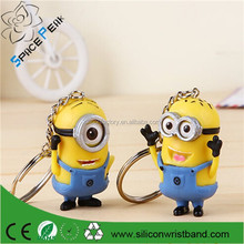 NEW Despicable Me 3D silicone bracelet keyring Minions 3D rubber keychain