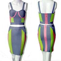 unique design luxury two piece color block arabic engagement dress