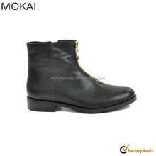 001-13 black women leather flat ankle boots short boots round toe shoes