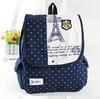 Fashion Fresh Style Polka Dot Eiffel Tower Printing Canvas Satchel Bag Rucksack School Backpack Bag Knapsack For Girls Women
