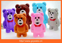 For iphone 4 5 6 iplus 3D Bear silicone case cover , cell phone silicon cases