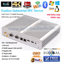Fanless Book sized Mini Computer PC Haswell i7-4500U 4GB DDRL 1600MHz RAM 500G HDD Actived Windows7/8 Dual HD MI