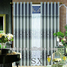 2012 New Product Fashion Printed Blackout Curtain Fabric with Black Line
