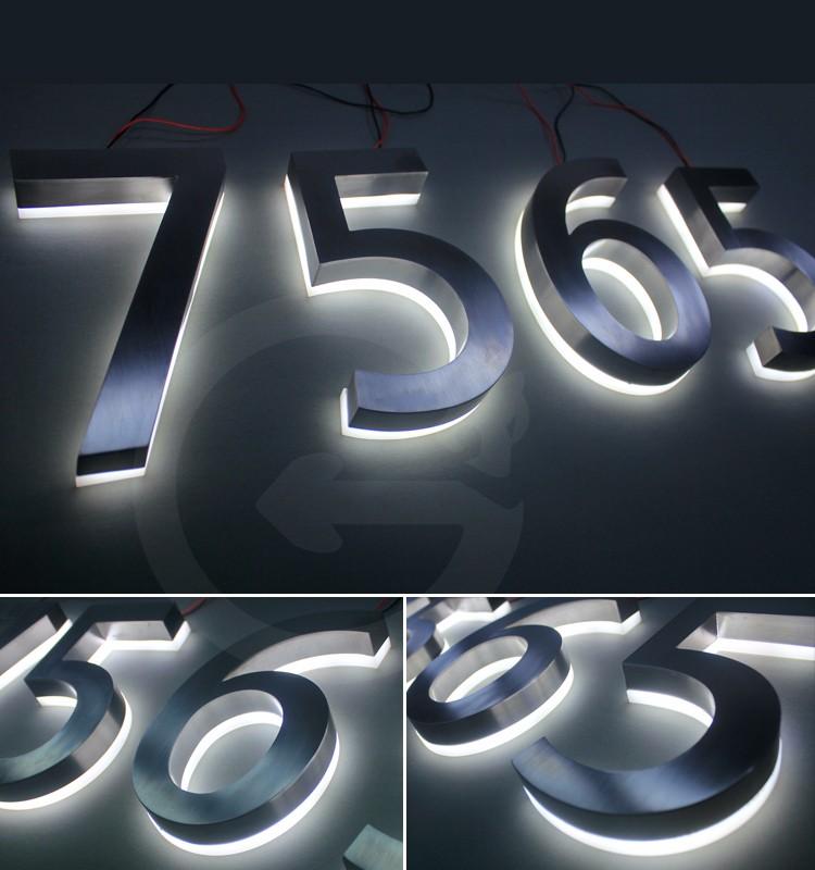 스테인레스 스틸 백라이트 편지 표지판을 led 조명 표지판 벽 ...