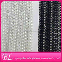 Crystal White Plastic Rhinestones Trimming Banding Chain Lace Ribbon Trim