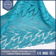 Leaf design high fashion top quality african lace fabrics for garment / Retail charming fancy teal african french lace