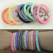 fashion jewelry 2015 crystal shambhala charm mesh stardust magnetic bracelet