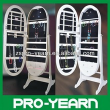 Oval Floor Standing Mirrored Jewelry Cabinet Chinese Wooden Furniture with LED Light and Classic Designs