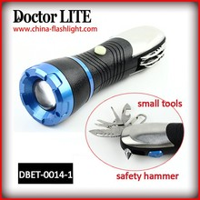 Car repairing tool LED work light,1w led multifunctional tool torch,multi tool torch light with safety hammer