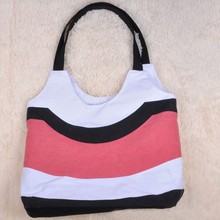 Cheap stripe pattern hobo canvas shopping bag have stock