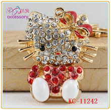 Sweet kitty with bowknot crystal pendant keychain for girls