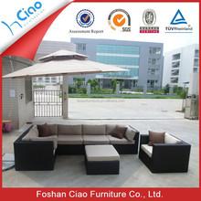 Rattan sectional corner sofa l shape recliners sofa with cushion