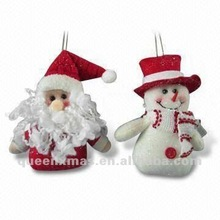 Red and White Glittery Santa Snowman Christmas Tree Ornament