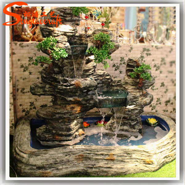 Indoor Decor Garden Pond Fiberglass Fish Ponds Stone Fountain Waterfall With Pump For Sale View