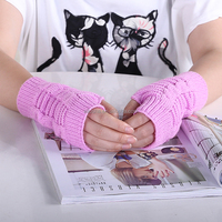 Latest design super soft women cheap winter finger out knitted gloves without fingers