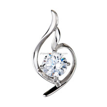 Fashion Jewelry Sterling Silver Swirl Design Graduated Journey Pendant CZ Stones