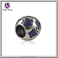 2015 newest oxidized silver round purple enamel western charms wholesale