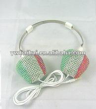 Fashion colorful flower style diamond stereo headphone, rhinestone setting