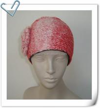 Fashion knitted headband with crochet flower black fleece lining