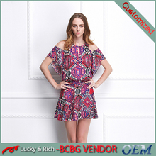 Custom-made women printed off shoulder cutting and sewing dress 100 silk dress