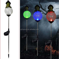Halloween decoration witch with glass ball solar stake light