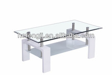Hot sale glass coffee table with gloss black legs