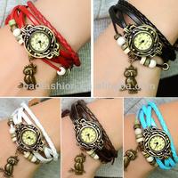 High Quality Quartz Weave Wrap Leather Vintage Bracelet Watch Women Wristwatch